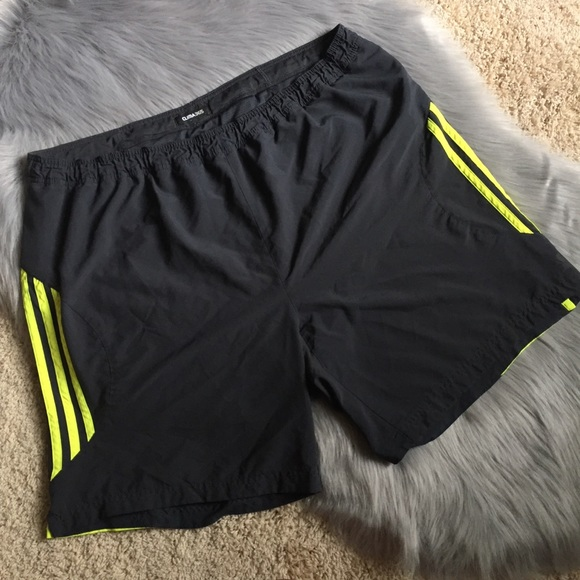 Adidas men's gray neon yellow ClimaLite shorts